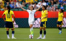EDMONTON, AB - JUNE 22: Alex Morgan #13 of the United States reacts in the second half while taking on Colombia in the FIFA Women's World Cup 2015 Round of 16 match at Commonwealth Stadium on June 22, 2015 in Edmonton, Canada. (Photo by Kevin C. Cox/Getty Images)