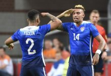 US Danny Williams (R) celebrates with US DeAndre Yedlin (L) after scoring a goal during the friendly football match between the Netherlands and USA on June 5, 2015 at the Arena Stadium in Amsterdam. AFP PHOTO / JOHN THYSJOHN THYS/AFP/Getty Images
