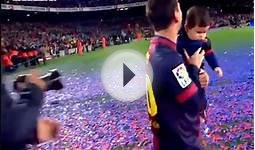 Messi celebrates with his son Tiago title Spanish league
