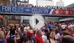 Soccer fans watch the US against Germany in World Cup